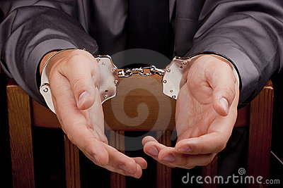 Arrested in handcuffs