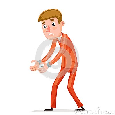 Free Arrestee Prisoner Caught Handcuffs Burglar Robber Thief Scared Guy Character Isolated Icons Cartoon Design Vector Royalty Free Stock Photo - 116090285