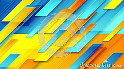 Arrière-plan de mouvement géométrique brillant orange bleu contrasté illustration stock
