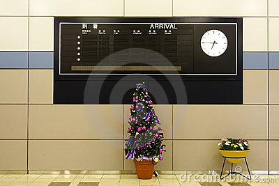 Arrival board - Sendai Airport