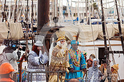 Arrival of the Magi   in Barcelona by ship Editorial Stock Image