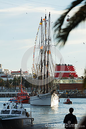 Arrival of the Magi to Barcelona port by boat Editorial Photography