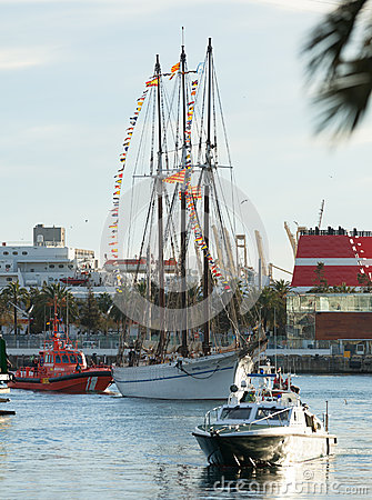 Arrival of the Magi to Barcelona port by boat Editorial Stock Image