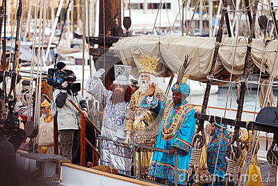 Arrival of the Magi to Barcelona port by ship Editorial Image