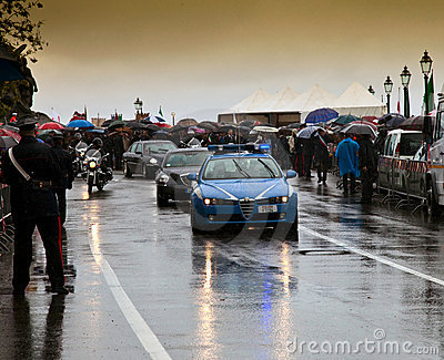 The arrival of the President in the pouring rain Editorial Photography