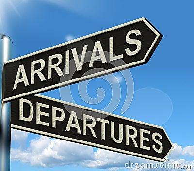 Arrivals Departures Signpost