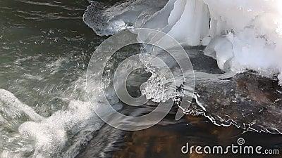 Arrosez circuler sur une crevasse sous la glace transparente au printemps clips vidéos