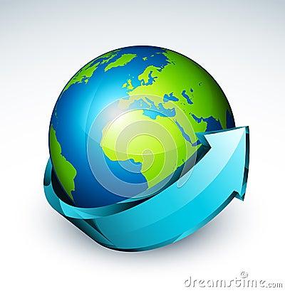 Arrow Around Globe Of World Royalty Free Stock Photo ...