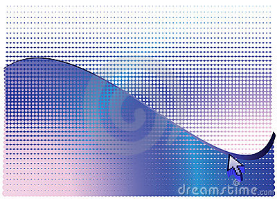 Arrow and blue abstract halftone background