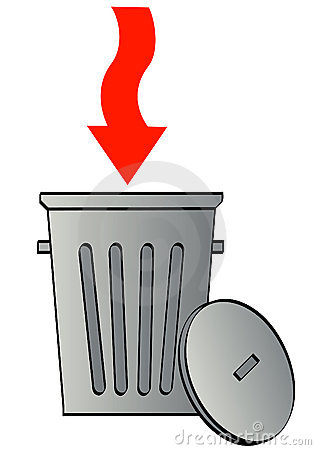 Arrow directing garbage in bin