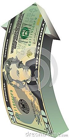 Arrow with dollar bill design