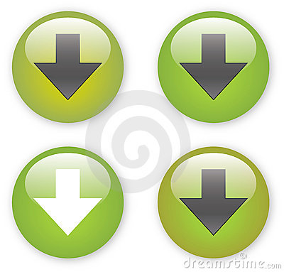 Arrow download green button icon