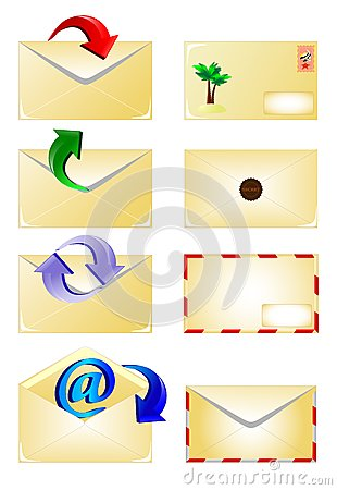 arrow and Email envelope icons set. Vector