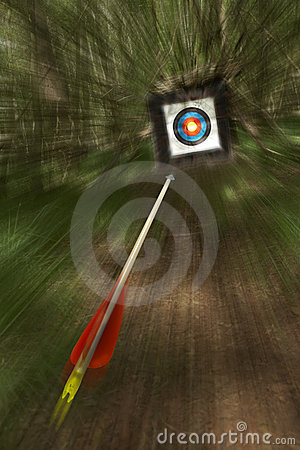 Arrow flying towards archery target