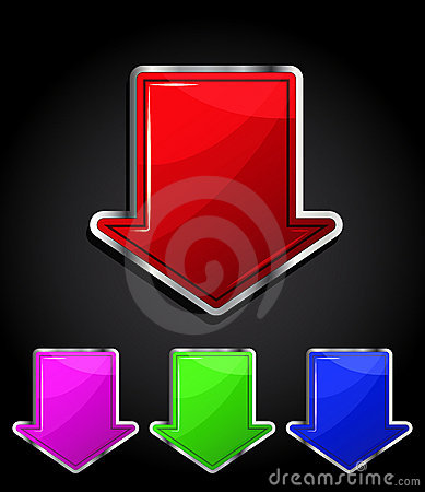 Arrow glossy download button, icon.