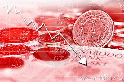 Arrow graph going down and polish currency