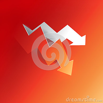 Arrow business profit graph peeling down decline from red paper background, create by vector