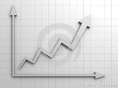 Arrow graph successful in business concept