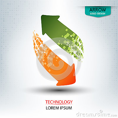 Arrow logo design up and down roundl shape vector Vector Illustration
