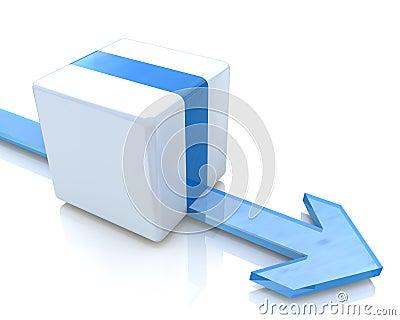 Arrow moves along the cube