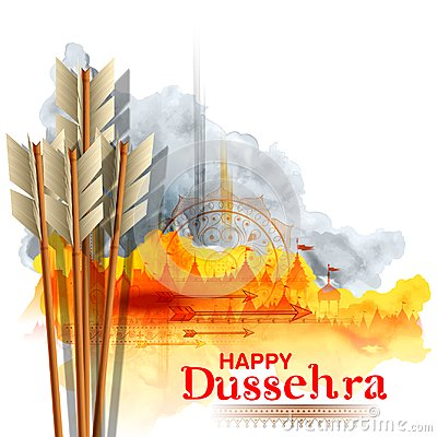 Free Arrow Of Rama In Happy Dussehra Festival Of India Background Stock Images - 124831754