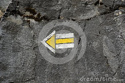 Arrow Painted On Rock