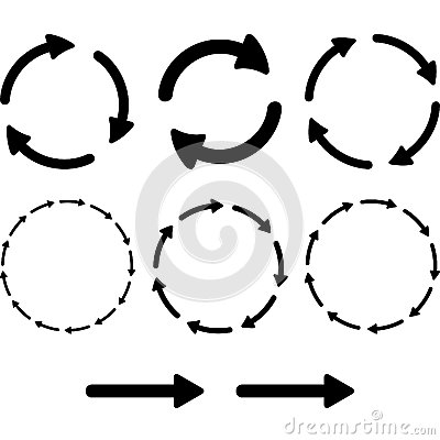 Free Arrow Pictogram Refresh Reload Rotation Loop Sign Set. Simple Color Web Icon On White Background.  Stock Images - 44632204
