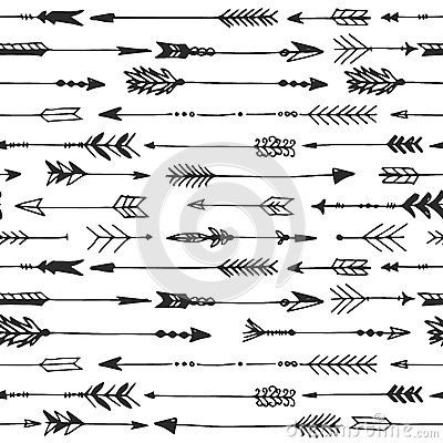 Arrow rustic seamless pattern. Hand drawn vintage vector Vector Illustration