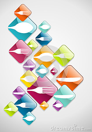 Arrow shaped food glossy icons background