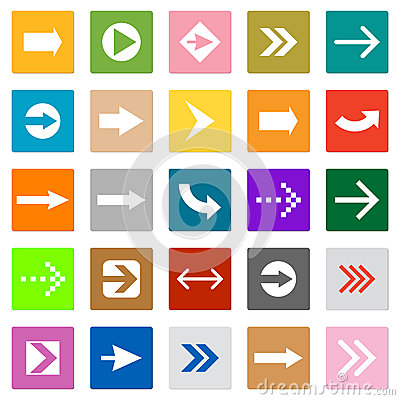 Free Arrow Sign Icon Set Square Shape Internet Button Royalty Free Stock Photo - 29049215