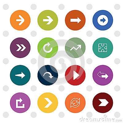 Free Arrow Sign Icons, Colored Circle Shape Stock Image - 53491661