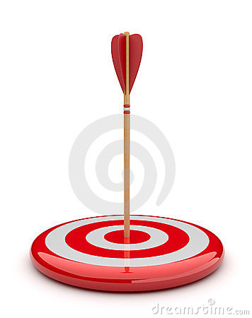 Arrow in target 3D. success hitting. Business
