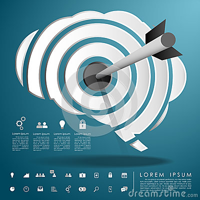 Arrow on target brain with business icon