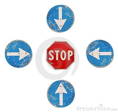 Free Arrows And Stop (road Signs) Stock Image - 11213311