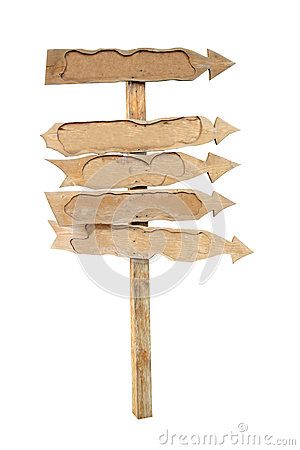 The arrows of the boards on a wooden post.