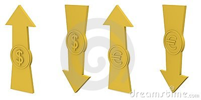 Arrows with euro and dollar