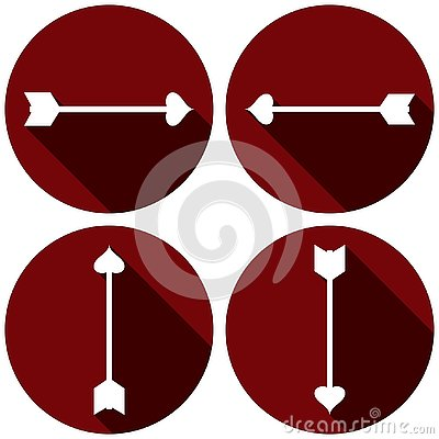 Arrows Flat Icon Set for Valentines Day Vector Illustration