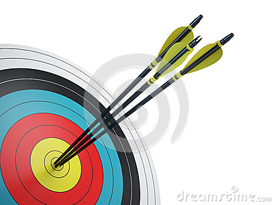 Arrows hitting the center of target