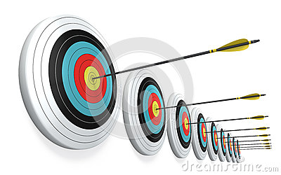 Arrows hitting the center of targets
