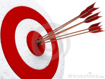 Arrows hitting directly in bulls eye