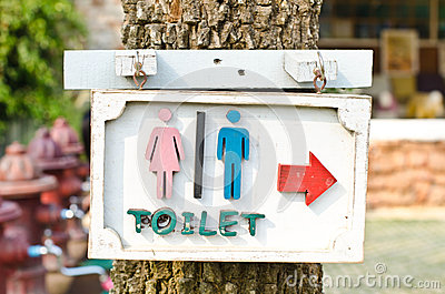 Arrows indicate the toilet.