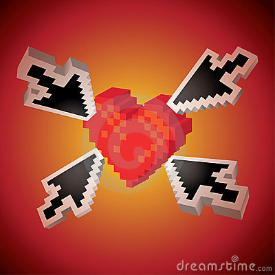 Arrows pointing on a heart