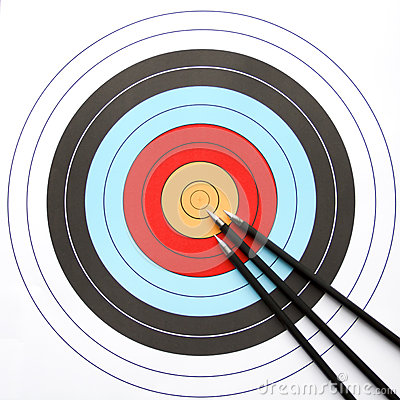 Arrows pointing to the center of archery target