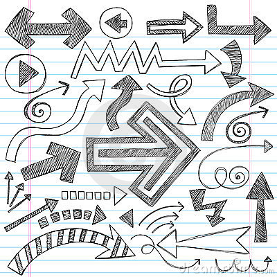 Arrows Sketchy Notebook Doodles Vector Set