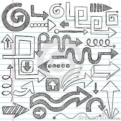 Arrows Sketchy Notebook Doodles Vector Set