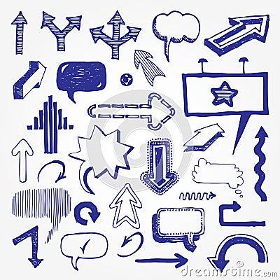 Arrows and speech bubbles set