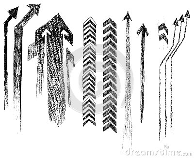 Arrows in style grunge. (vector)