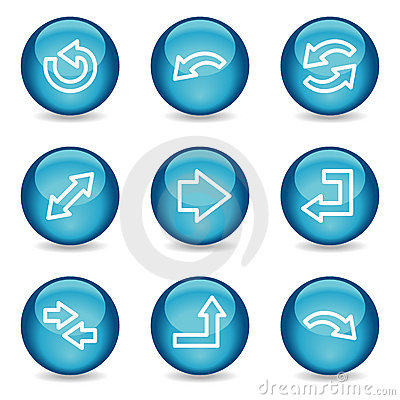 Arrows web icons, blue glossy sphere series