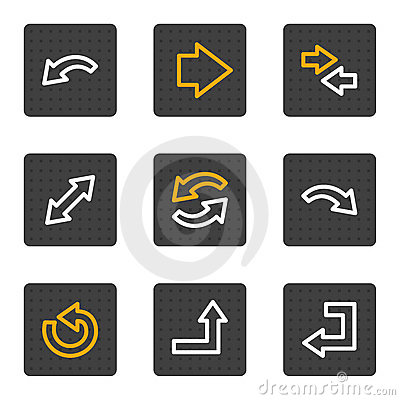 Arrows web icons, grey buttons series