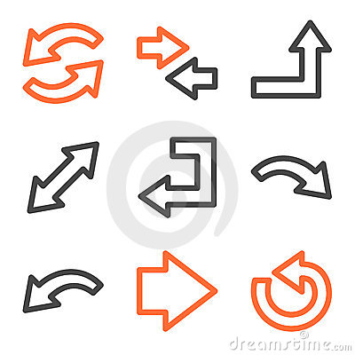 Arrows web icons, orange and gray contour series